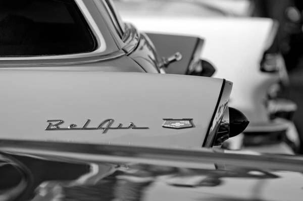 1956 Chevrolet Belair Nomad Rear End Emblem Poster featuring the photograph 1956 Chevrolet Belair Nomad Rear End Emblem by Jill Reger