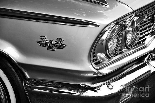 Photography Poster featuring the photograph 1963 Ford Galaxie Front End And Badge by Kaye Menner