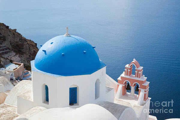 Architecture Poster featuring the photograph Iconic Blue Domed Churches In Oia Santorini Greece by Matteo Colombo