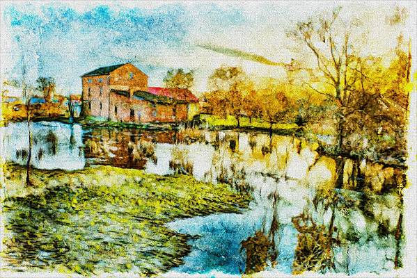 Agriculture Poster featuring the digital art Mill By The River by Jaroslaw Grudzinski