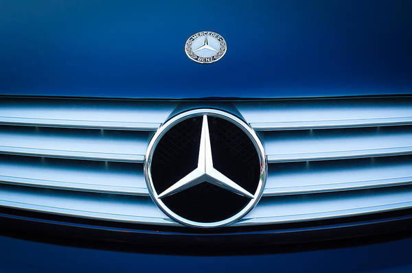 2003 Mercedes Cl Poster featuring the photograph 2003 Cl Mercedes Hood Ornament And Emblem by Jill Reger