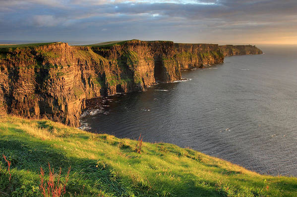 Ireland Poster featuring the photograph Cliffs Of Moher Sunset Ireland by Pierre Leclerc Photography