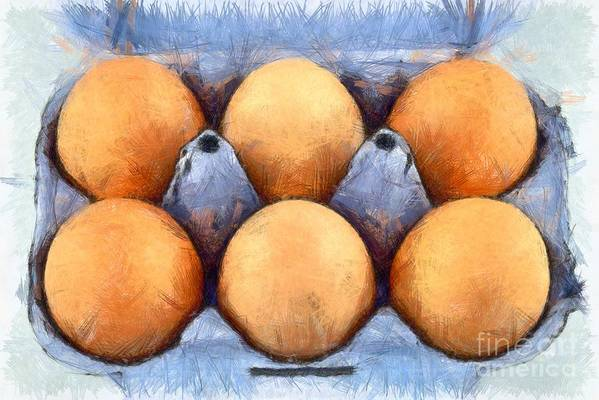 Egg Poster featuring the painting Organic Eggs by George Atsametakis