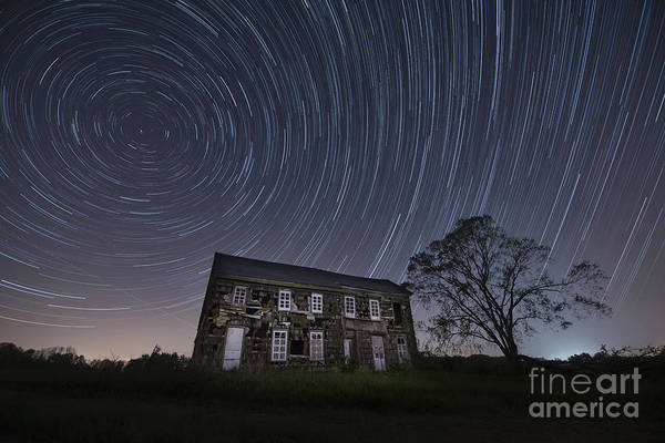 Abandoned History Star Trails Poster featuring the photograph Abandoned History Star Trails by Michael Ver Sprill