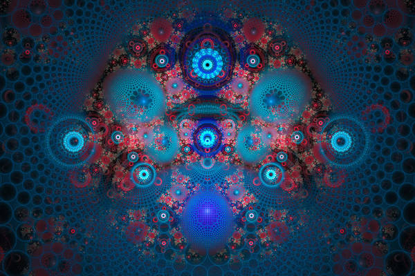 Blue Poster featuring the digital art Abstract Fractal Art Blue And Red by Matthias Hauser