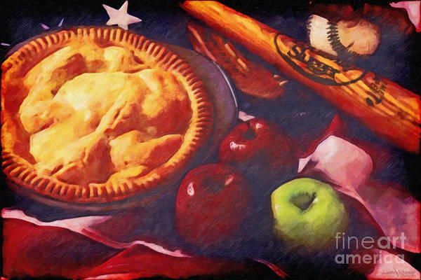 Baseball Poster featuring the digital art As American As Baseball And Apple Pie by Lianne Schneider