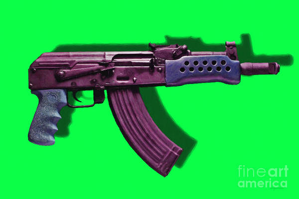Gun Poster featuring the photograph Assault Rifle Pop Art - 20130120 - V3 by Wingsdomain Art and Photography