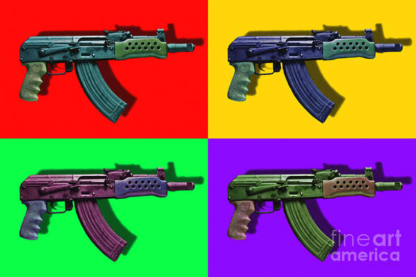 Gun Poster featuring the photograph Assault Rifle Pop Art Four - 20130120 by Wingsdomain Art and Photography
