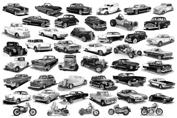 Framed Poster Of Cars & Motorcycles In Black & White Poster featuring the drawing Automotive Pen And Ink Poster by Jack Pumphrey