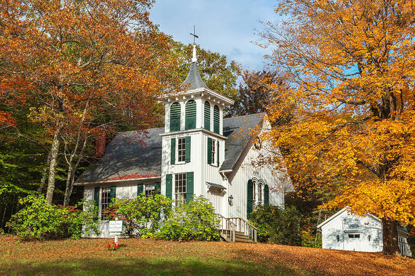 Autumn In New England Poster featuring the photograph Autumn Church by Bill Wakeley