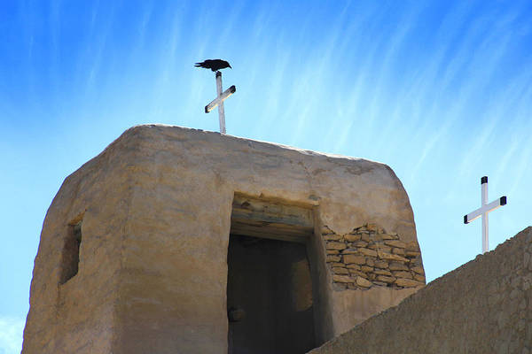 Acoma Pueblo Poster featuring the photograph Black Bird On Duty by Mike McGlothlen