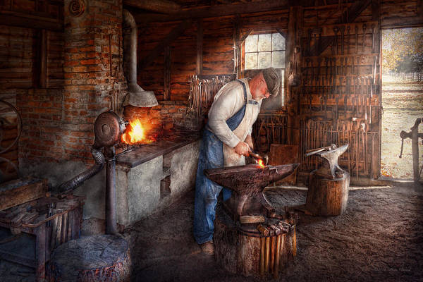 Blacksmith Poster featuring the photograph Blacksmith - The Smith by Mike Savad