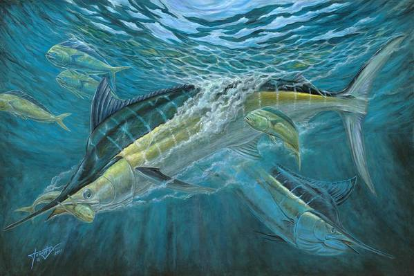 Blue Marlin Poster featuring the painting Blue And Mahi Mahi Underwater by Terry Fox