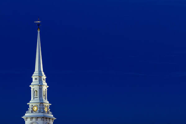 4th Of July Poster featuring the photograph Blue Hour Steeple by Jeff Sinon