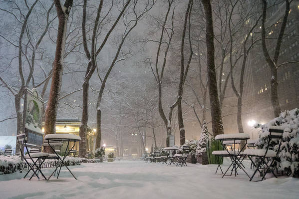 Nyc Poster featuring the photograph Bryant Park - Winter Snow Wonderland - by Vivienne Gucwa