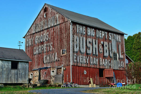 Paul Ward Poster featuring the photograph Bush And Bull Roadside Barn by Paul Ward
