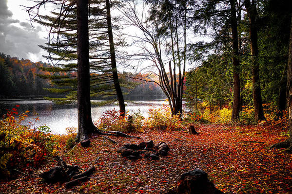 Adirondack's Poster featuring the photograph Campsite On Cary Lake by David Patterson
