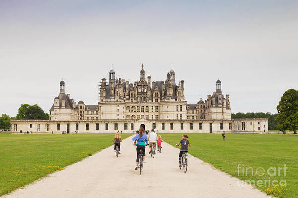 Centre Poster featuring the photograph Chateau Chambord And Cyclists by Colin and Linda McKie