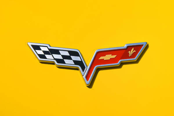 Yellow Corvette Poster featuring the photograph Chevrolet Corvette Flags by Phil 'motography' Clark