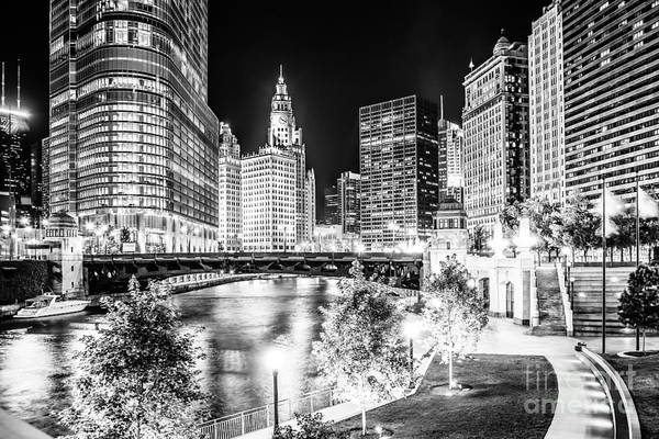 America Poster featuring the photograph Chicago River Buildings At Night In Black And White by Paul Velgos