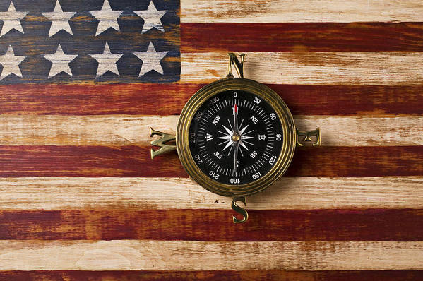 Folk Art American Flag Poster featuring the photograph Compass On Wooden Folk Art Flag by Garry Gay