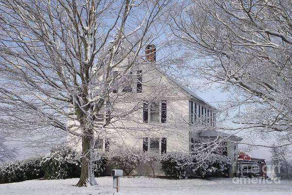Connecticut Farmhouse Poster featuring the photograph Connecticut Winter by Michelle Welles