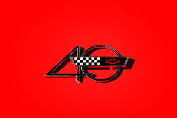 40th Anniversary Emblem Poster featuring the photograph Corvette 40 by Phil 'motography' Clark