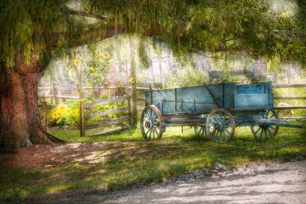 Savad Poster featuring the photograph Country - The Old Wagon Out Back by Mike Savad