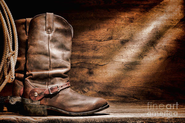 Cowboy Boots Poster featuring the photograph Cowboy Boots On Wood Floor by Olivier Le Queinec