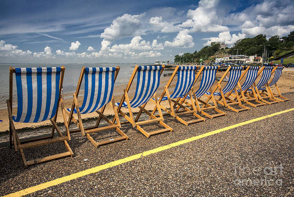 Empty Deckchairs Poster featuring the photograph Deckchairs At Southend by Avalon Fine Art Photography
