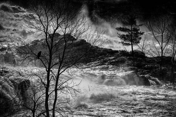 Night Poster featuring the photograph Evening Great Falls Maine by Bob Orsillo