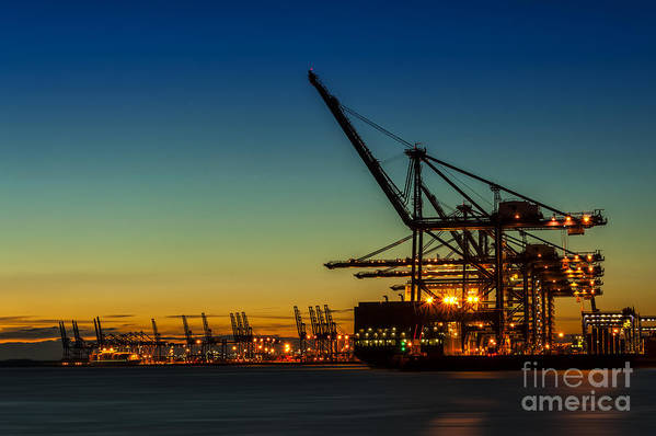 Bay Poster featuring the photograph Felixstowe Docks by Svetlana Sewell