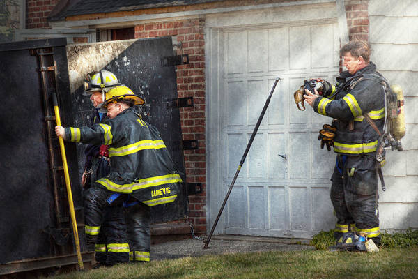 Savad Poster featuring the photograph Fireman - Take All Fires Seriously by Mike Savad