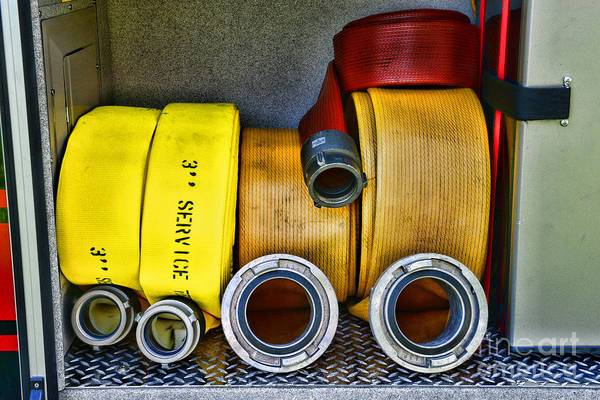 Paul Ward Poster featuring the photograph Fireman - The Fire Hose by Paul Ward