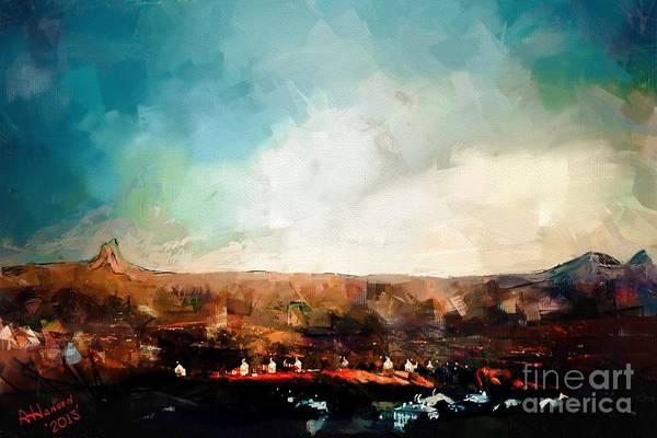 Arizona Poster featuring the digital art First Sun by Arne Hansen