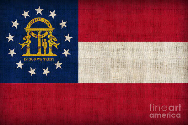 Georgia Poster featuring the painting Georgia State Flag by Pixel Chimp