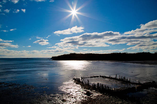 Maine Rockport Glen Cove Ocean Water Sea Salt Sun Clouds Sky Colors Blue White Black Brown Reflection Sparkle Wood Seaweed Sand Beach Star Brilliant Island Rocks Country Shore Line Tree Line Coast Midcoast Poster featuring the photograph Glen Cove Maine by Melanie Leo
