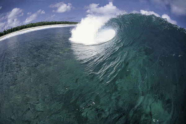 Ocean Energy Poster featuring the photograph Green Curl by Sean Davey