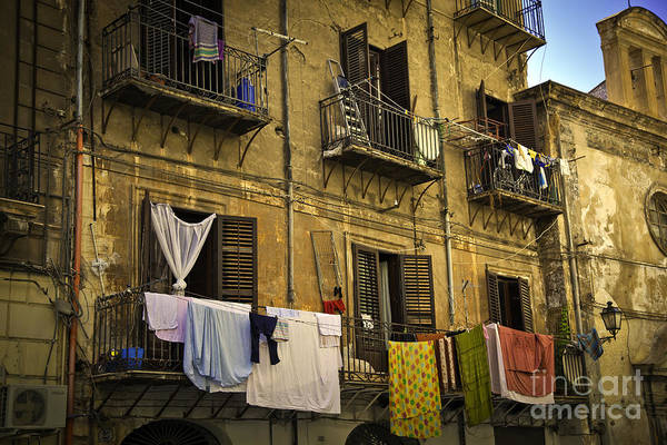 Laundry Poster featuring the photograph Hanging Out To Dry In Palermo by Madeline Ellis