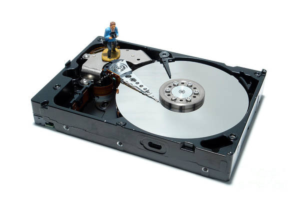 Computer Poster featuring the photograph Hard Drive Backup by Olivier Le Queinec