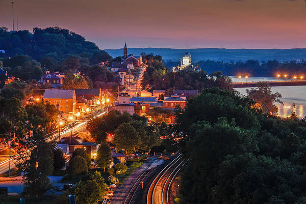 Night Poster featuring the photograph Hermann Missouri - A Most Beautiful Town by Tony Carosella