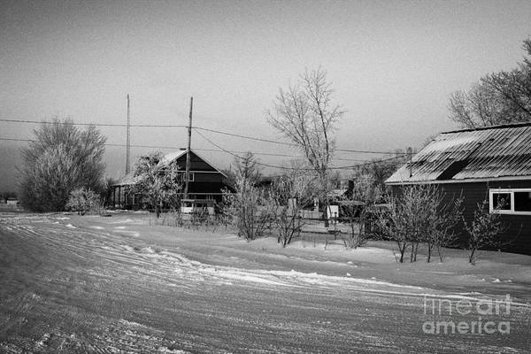 Hoar Poster featuring the photograph hoar frost covered street in small rural village of Forget Saskatchewan Canada by Joe Fox