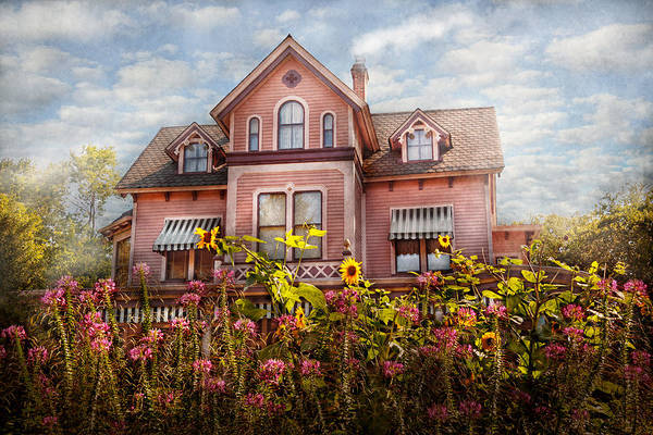 Pink Poster featuring the photograph House - Victorian - Summer Cottage by Mike Savad