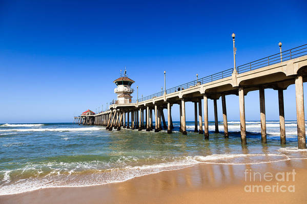 America Poster featuring the photograph Huntington Beach Pier In Southern California by Paul Velgos