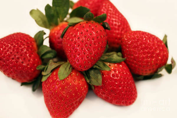 Juicy Strawberries Poster featuring the photograph Juicy Strawberries by Barbara Griffin