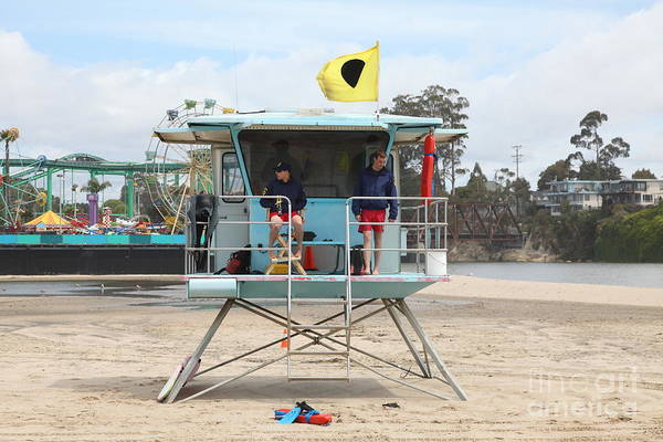 California Poster featuring the photograph Lifeguard Shack At The Santa Cruz Beach Boardwalk California 5d23713 by Wingsdomain Art and Photography