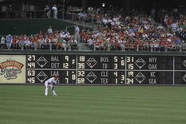 Baseball Poster featuring the photograph Lonely In Center Field by Dave Hall