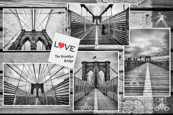 U.s.a Poster featuring the photograph Love The Brooklyn Bridge by John Farnan