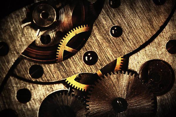 Clock Poster featuring the pyrography Macro Mechanic by Svetoslav Sokolov