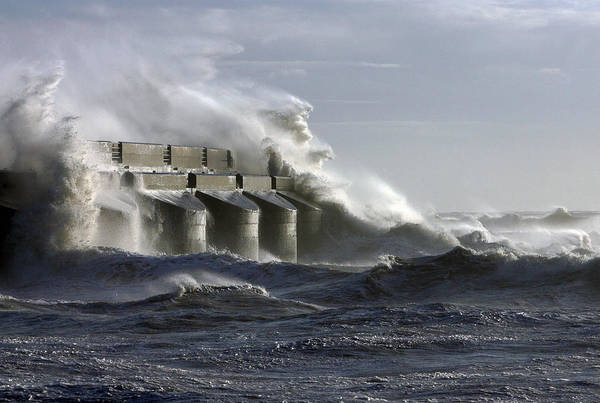 Sea Poster featuring the photograph Marina Waves by Barry Goble